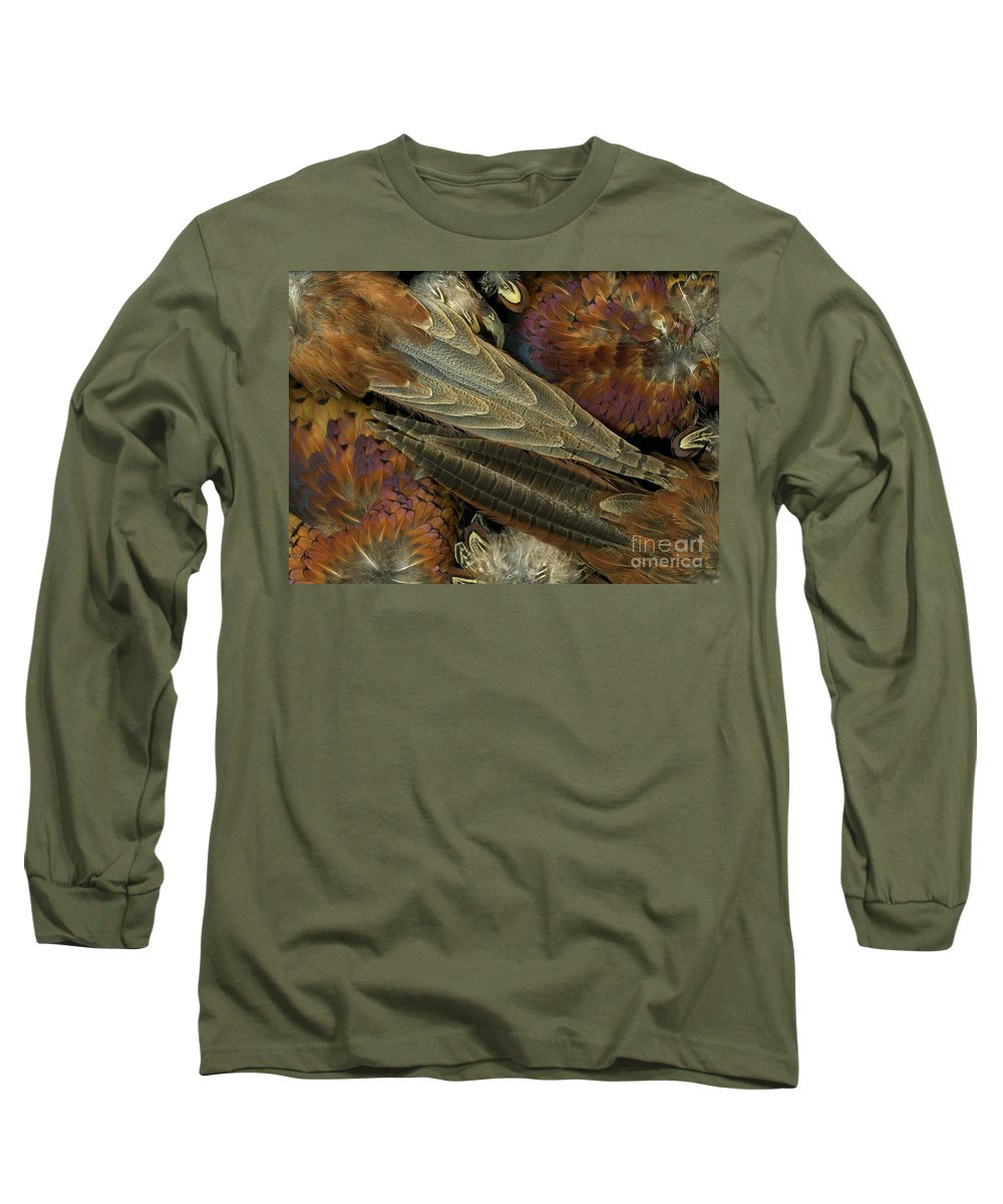 Pheasant Long Sleeve T-Shirt featuring the photograph Featherdance by Christian Slanec