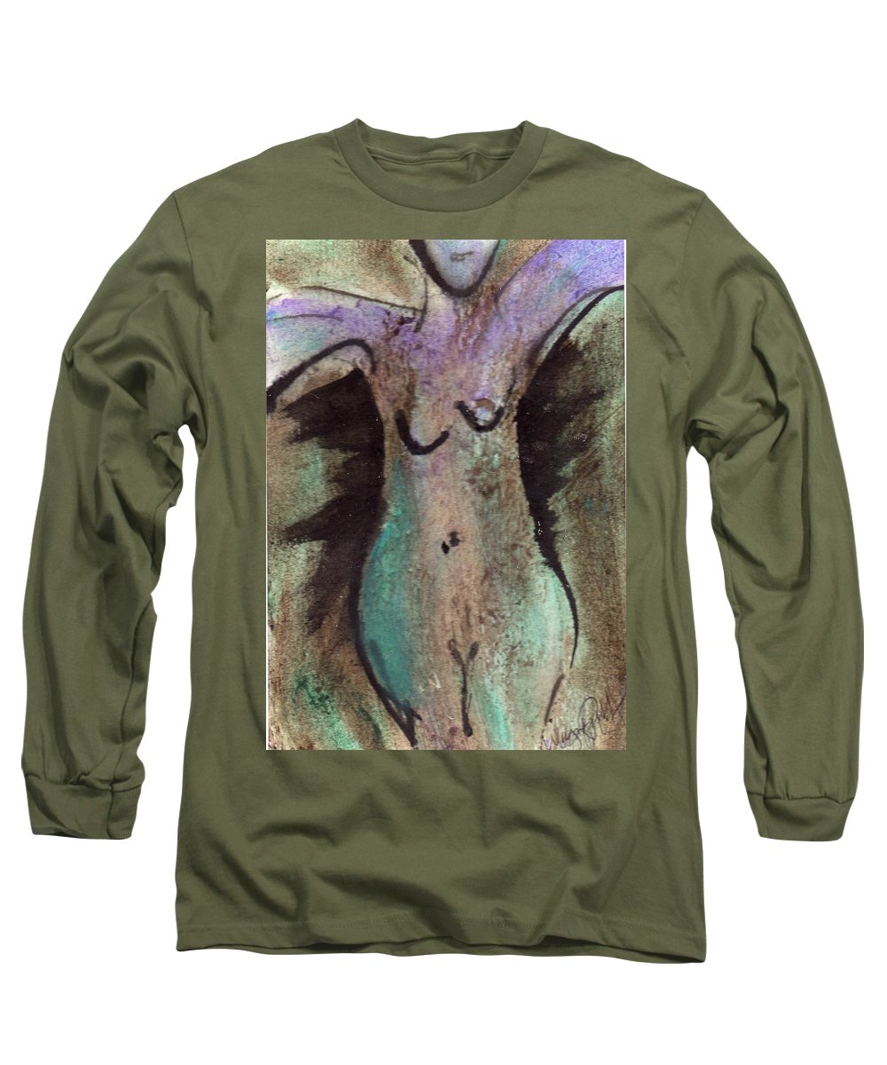 Nude Long Sleeve T-Shirt featuring the painting Female Nude Torso 1 by Wayne Potrafka