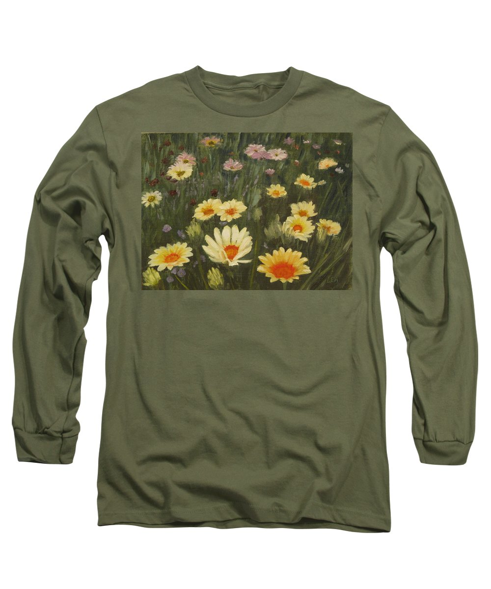 Flower Long Sleeve T-Shirt featuring the painting Field Of Flowers by Lea Novak