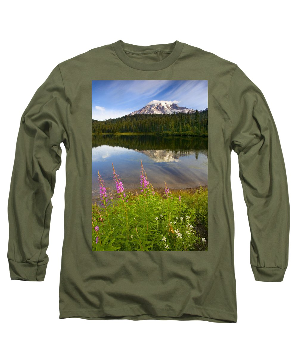 Fireweed Long Sleeve T-Shirt featuring the photograph Fireweed Reflections by Mike Dawson