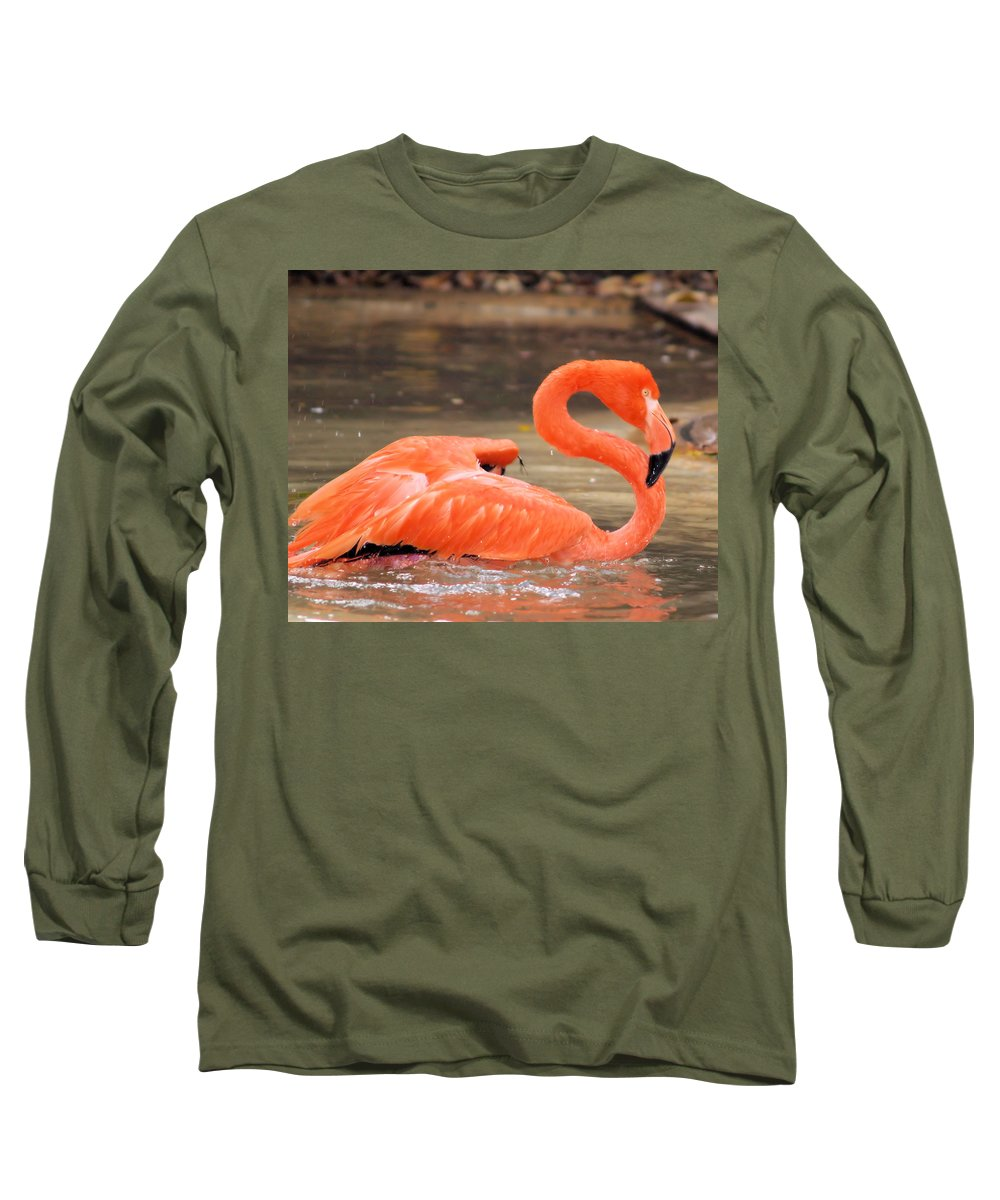 Flamingo Long Sleeve T-Shirt featuring the photograph Flamingo by Gaby Swanson