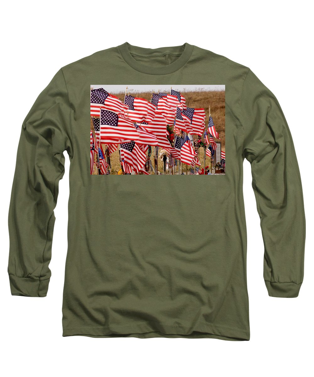 Flags Long Sleeve T-Shirt featuring the photograph Flight 93 Flags by Jean Macaluso