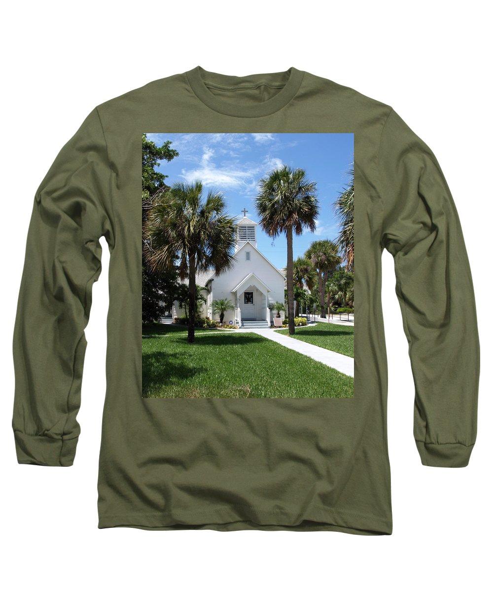 Chapel; Community; Melbourne; Beach; Florida; Melbourne Beach; Church; Congregationalist; Worship; M Long Sleeve T-Shirt featuring the photograph Florida Community Chapel by Allan Hughes