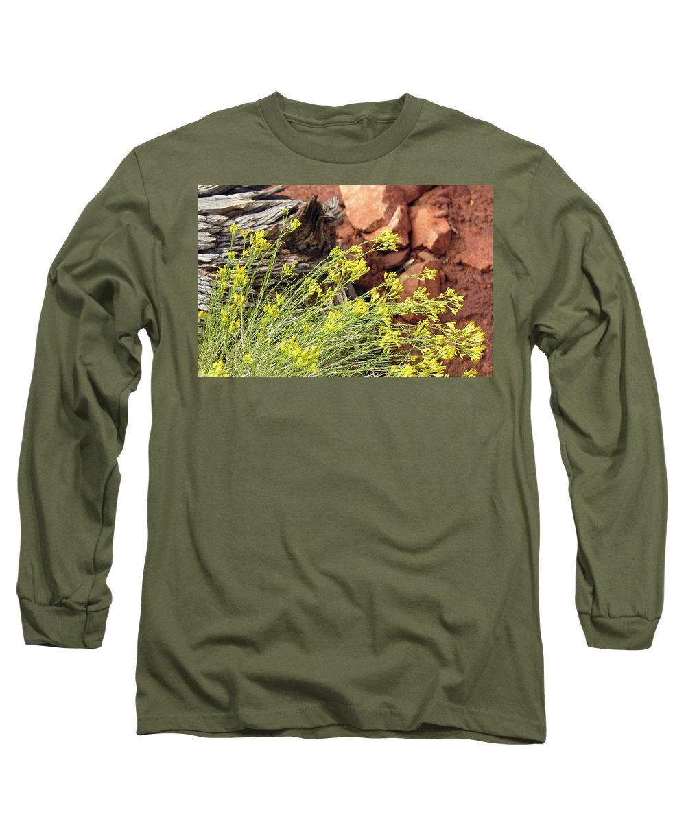 Flower Long Sleeve T-Shirt featuring the photograph Flower Wood And Rock by Marilyn Hunt