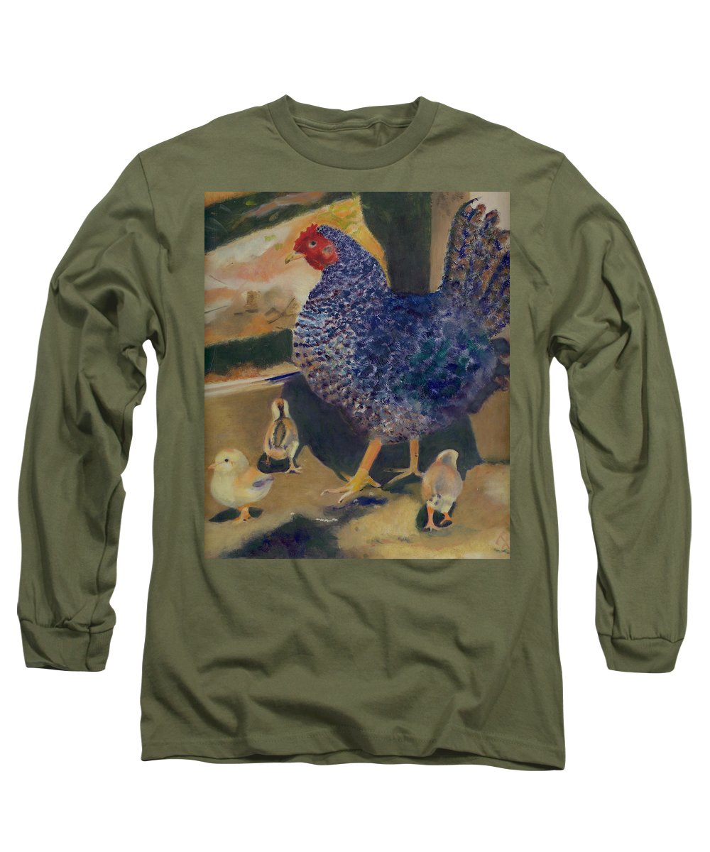 Animal Long Sleeve T-Shirt featuring the painting For The Birds by Paula Emery