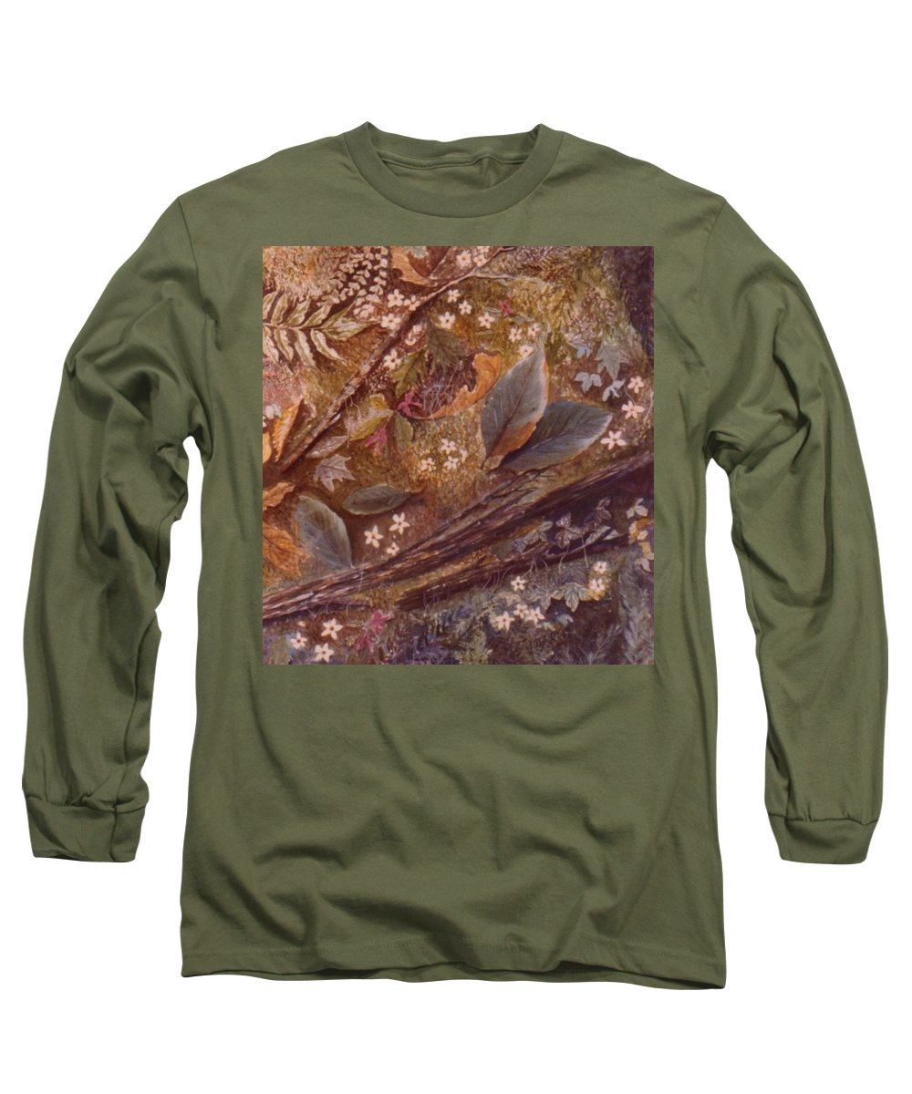 Leaves; Forest; Flowers Long Sleeve T-Shirt featuring the painting Forest Floor by Ben Kiger