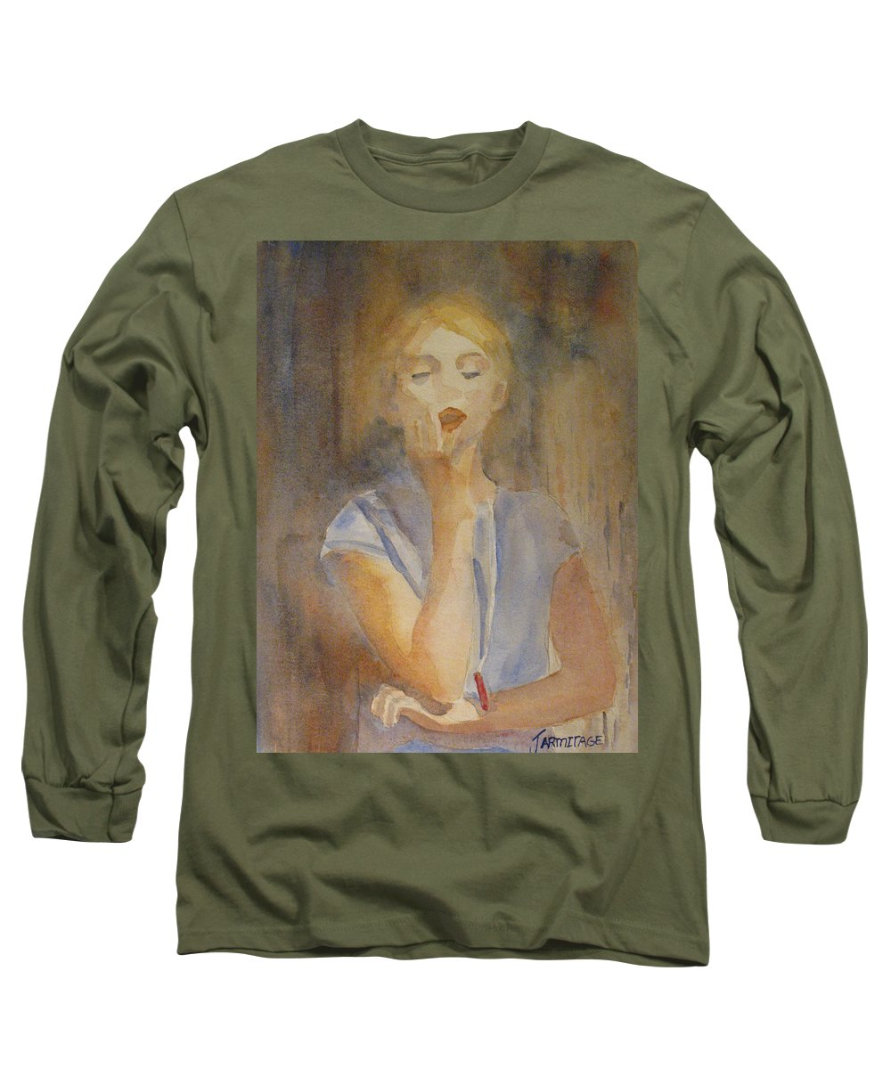 Woman Long Sleeve T-Shirt featuring the painting Forest Singer by Jenny Armitage