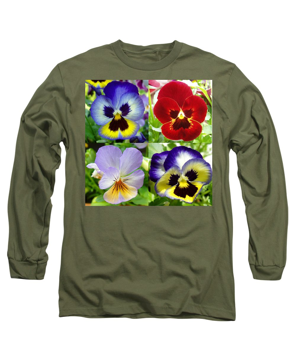 Pansy Long Sleeve T-Shirt featuring the photograph Four Pansies by Nancy Mueller