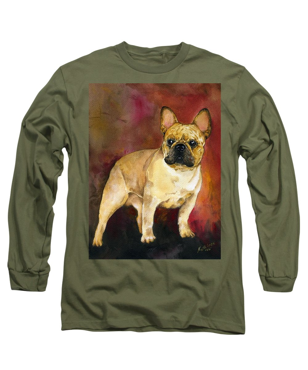 French Bulldog Long Sleeve T-Shirt featuring the painting French Bulldog by Kathleen Sepulveda