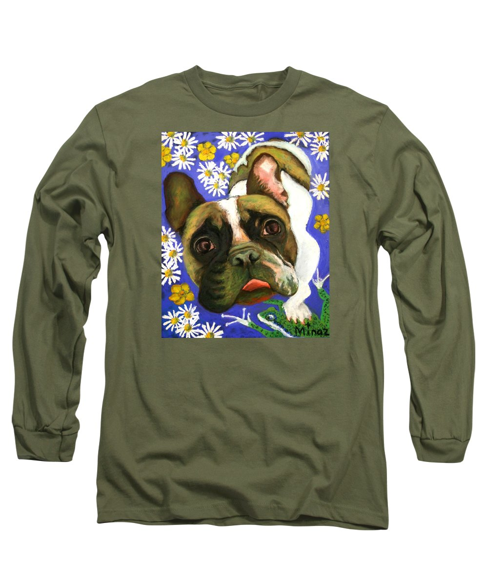 Pet Portrait Long Sleeve T-Shirt featuring the painting Frenchie Plays With Frogs by Minaz Jantz