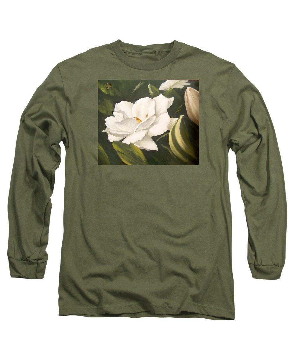 Gardenia Flower Long Sleeve T-Shirt featuring the painting Gardenia by Natalia Tejera