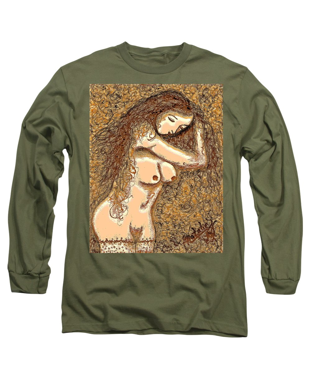 Nude Long Sleeve T-Shirt featuring the painting Gardenia by Natalie Holland