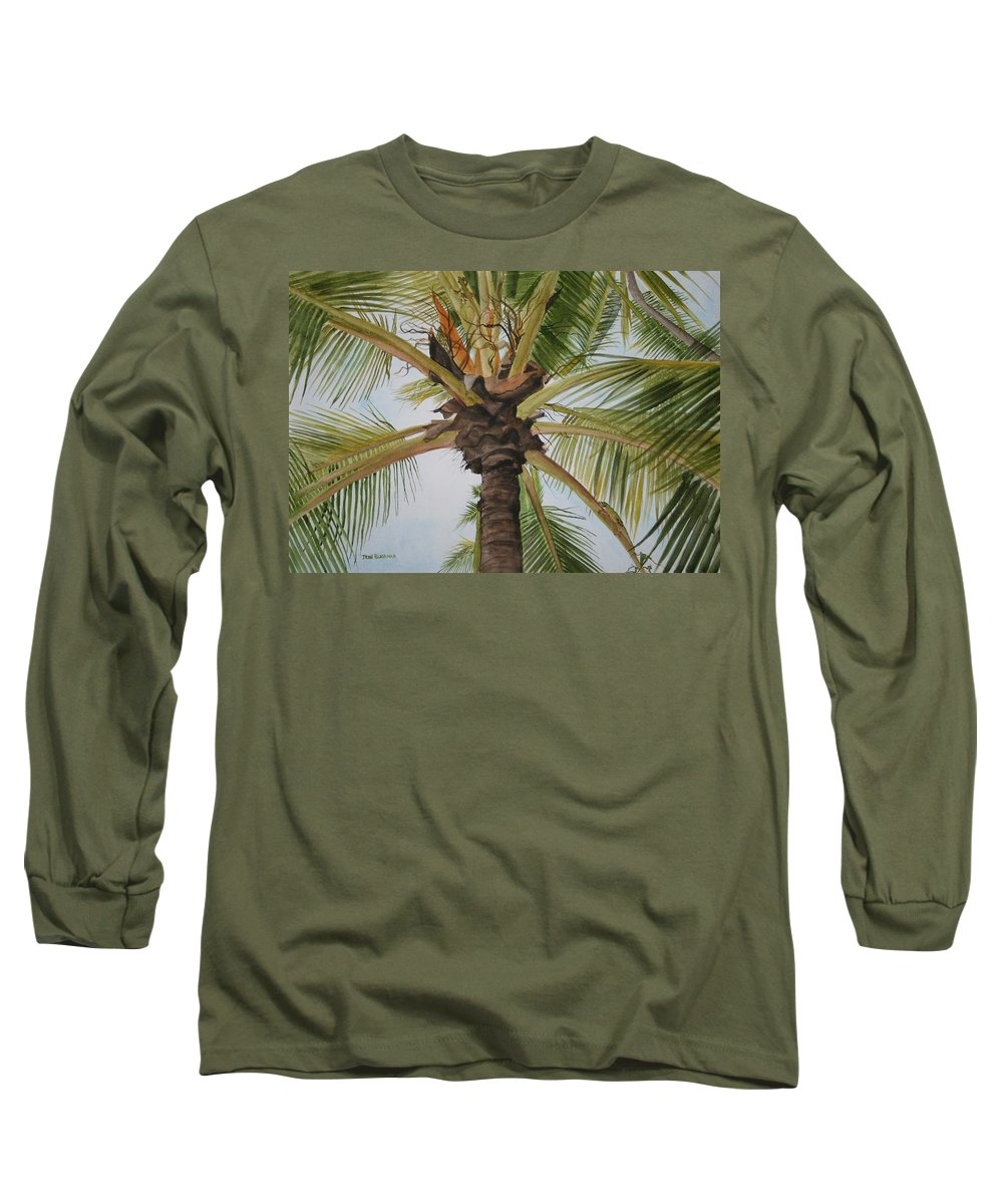 Palm Tree Long Sleeve T-Shirt featuring the painting Gecko Heaven by Jean Blackmer