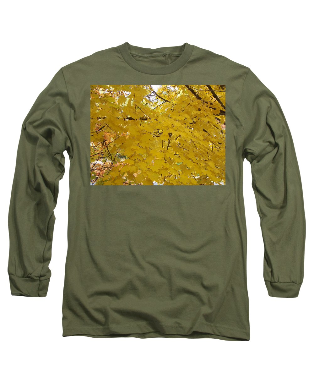 Fall Autum Trees Maple Yellow Long Sleeve T-Shirt featuring the photograph Golden Canopy by Karin Dawn Kelshall- Best