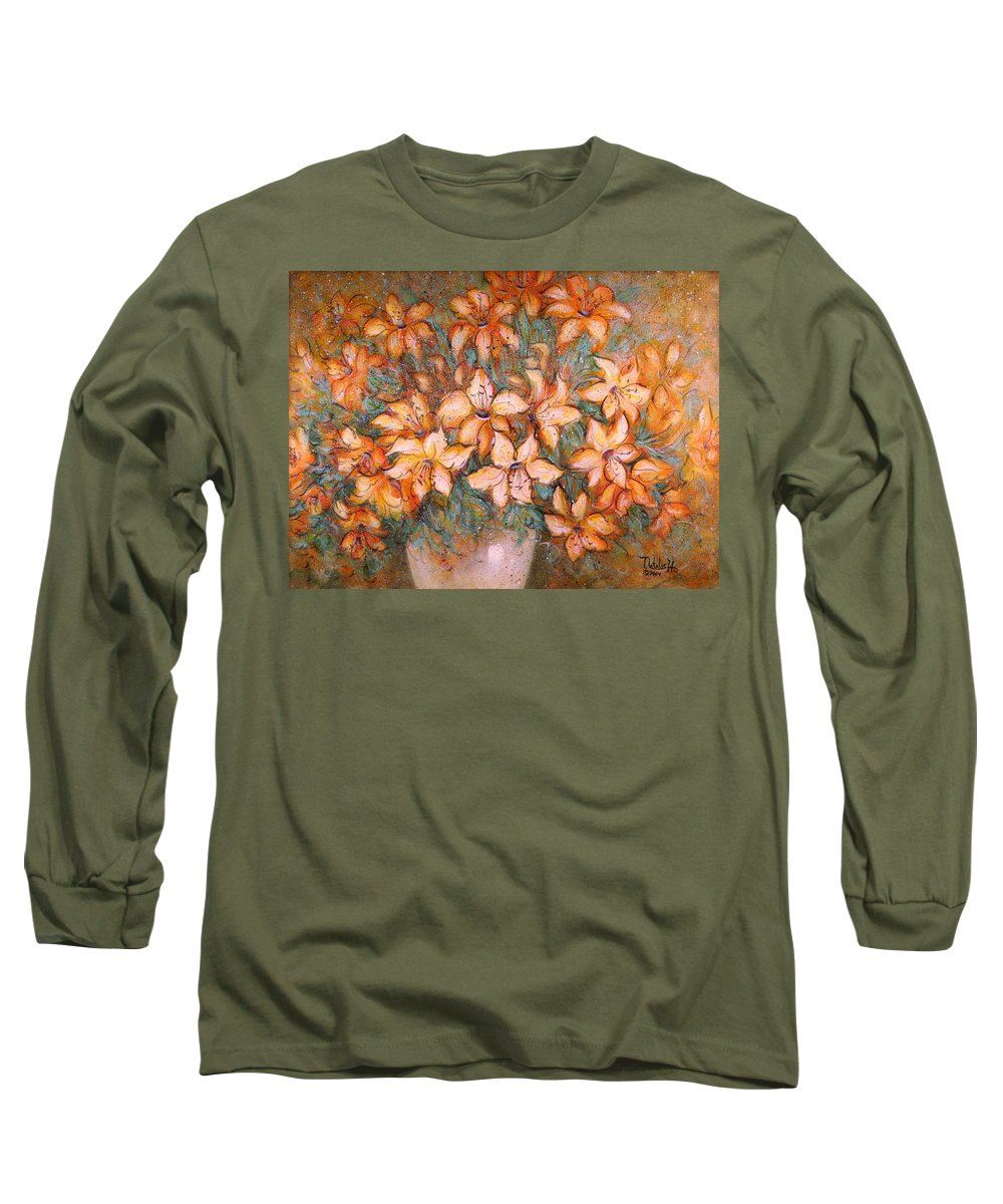 Yellow Lilies Long Sleeve T-Shirt featuring the painting Golden Lilies by Natalie Holland