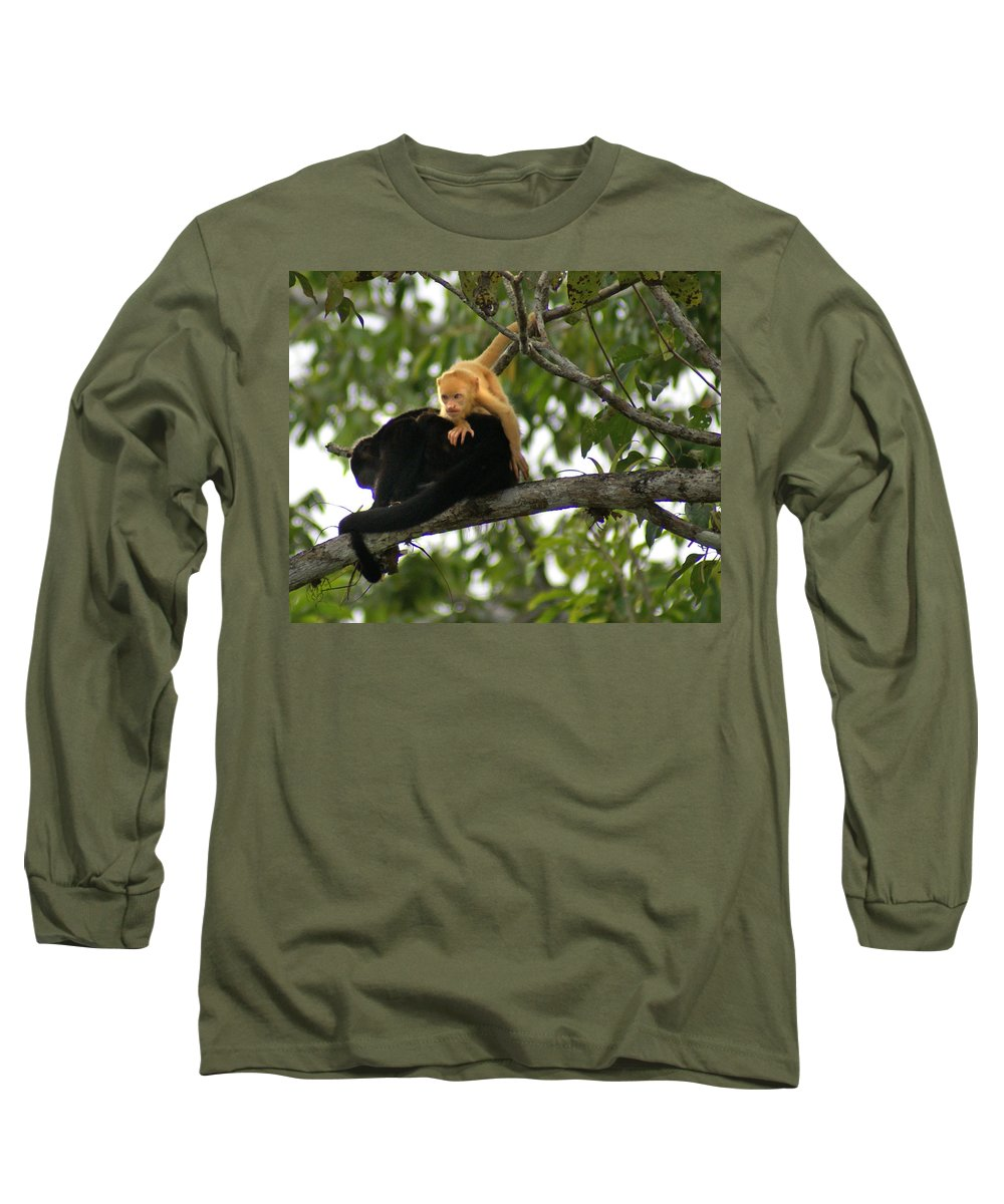 Monkey Long Sleeve T-Shirt featuring the photograph Golden Monkey by Heather Coen