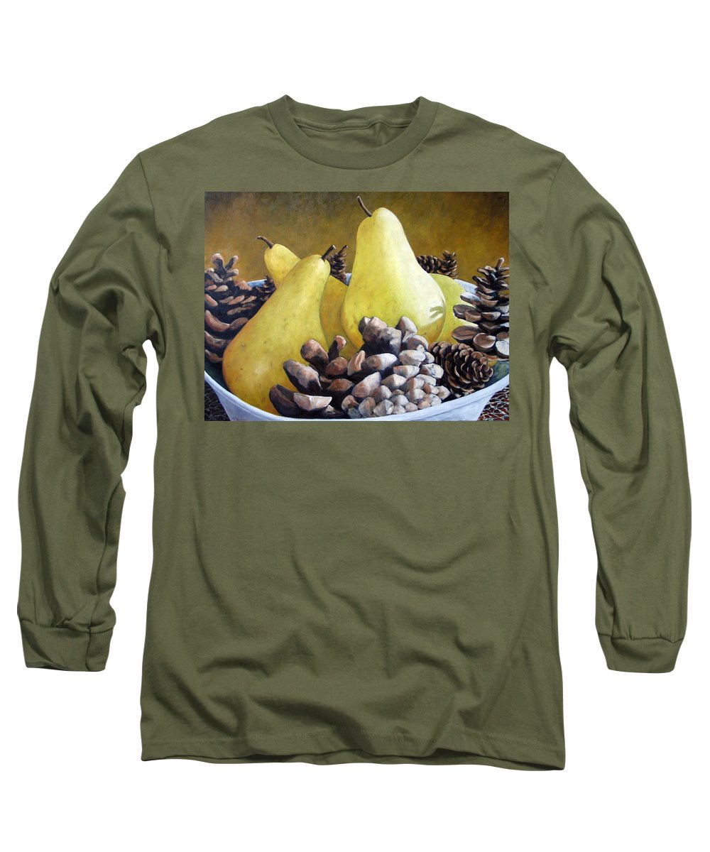 Canadian Long Sleeve T-Shirt featuring the painting Golden Pears And Pine Cones by Richard T Pranke