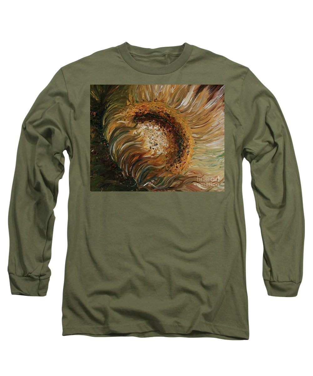 Sunflower Long Sleeve T-Shirt featuring the painting Golden Sunflower by Nadine Rippelmeyer