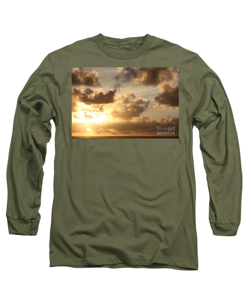 Sunrise Long Sleeve T-Shirt featuring the photograph Golden Sunrise On Kauai by Nadine Rippelmeyer