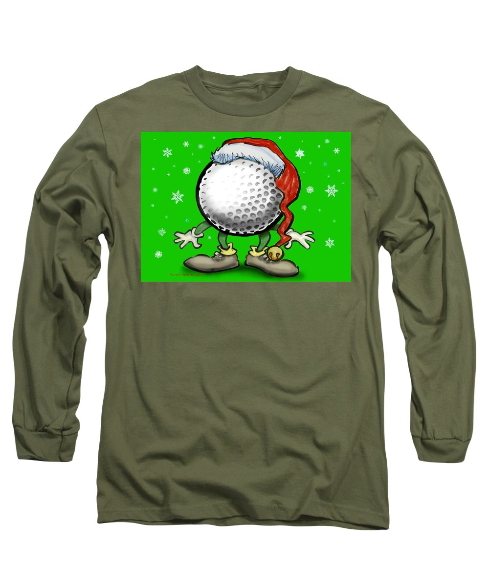 Golf Long Sleeve T-Shirt featuring the greeting card Golfmas by Kevin Middleton