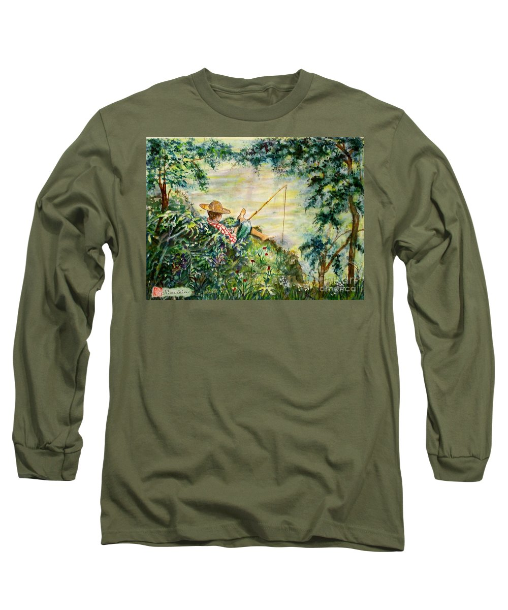 Landscape Long Sleeve T-Shirt featuring the painting Good Fishing by Norma Boeckler