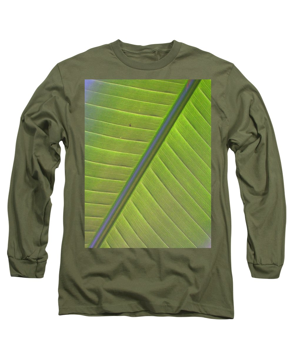 Leaf Long Sleeve T-Shirt featuring the photograph Green And Purple Pattern by Laurie Paci