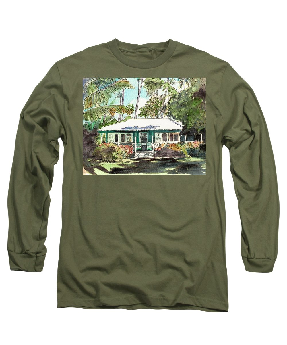 Cottage Long Sleeve T-Shirt featuring the painting Green Cottage by Marionette Taboniar