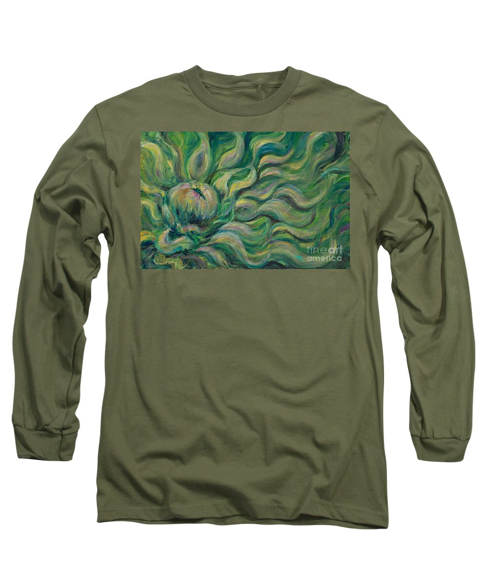 Green Long Sleeve T-Shirt featuring the painting Green Flowing Flower by Nadine Rippelmeyer