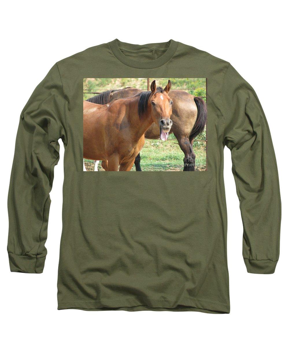 Horse Long Sleeve T-Shirt featuring the photograph Haaaaa by Amanda Barcon