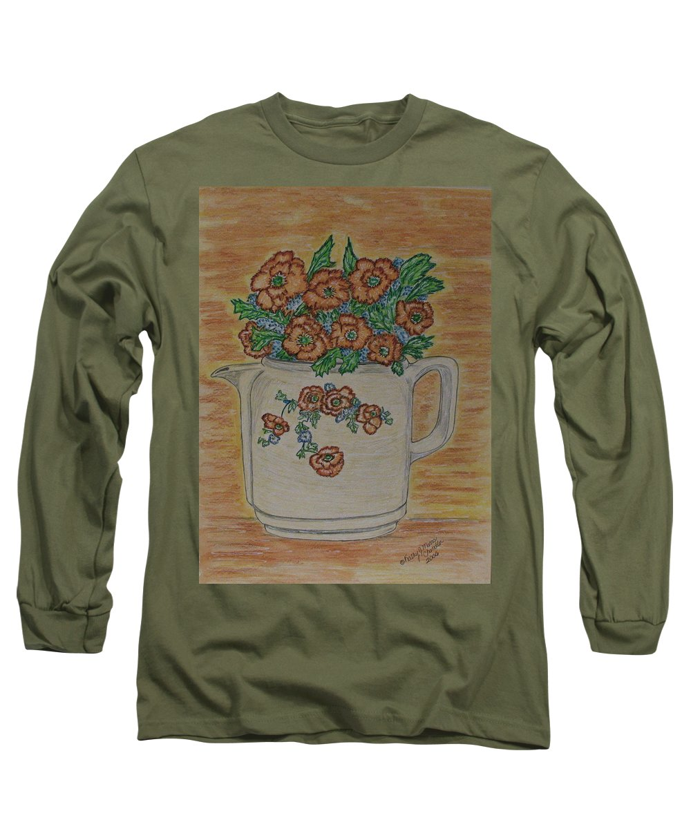 Hall China Long Sleeve T-Shirt featuring the painting Hall China Orange Poppy And Poppies by Kathy Marrs Chandler