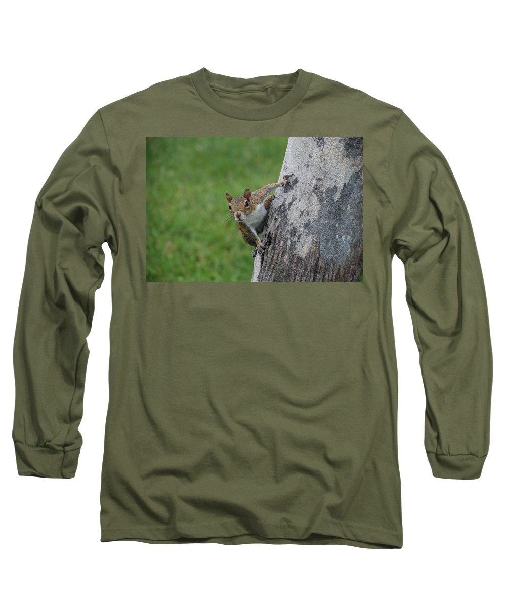 Squirrel Long Sleeve T-Shirt featuring the photograph Hanging On by Rob Hans