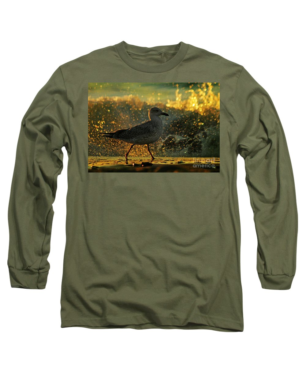 Seagull Long Sleeve T-Shirt featuring the photograph Have A Walk By Th Sea by Angel Ciesniarska
