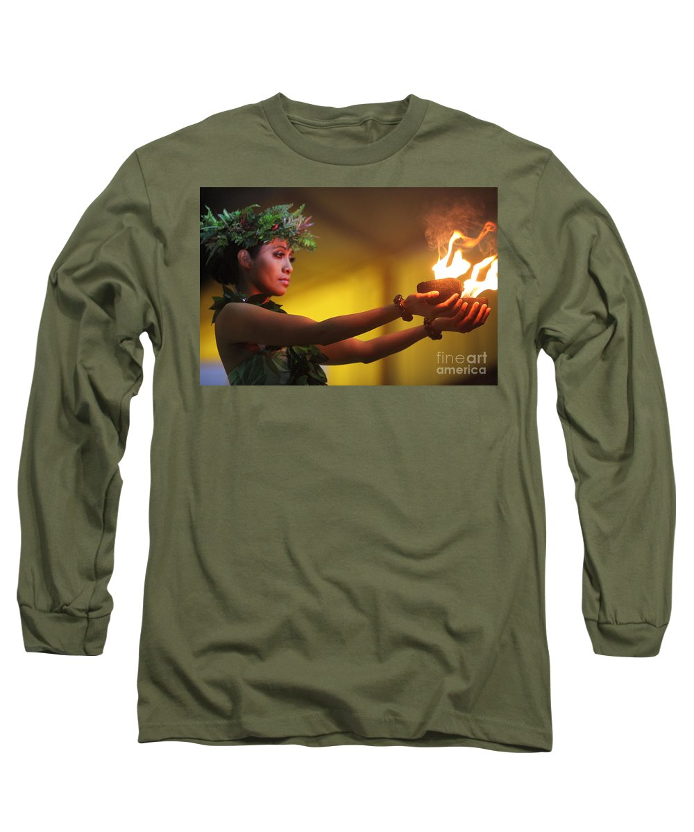 Fire Long Sleeve T-Shirt featuring the photograph Hawaiian Dancer And Firepots by Nadine Rippelmeyer