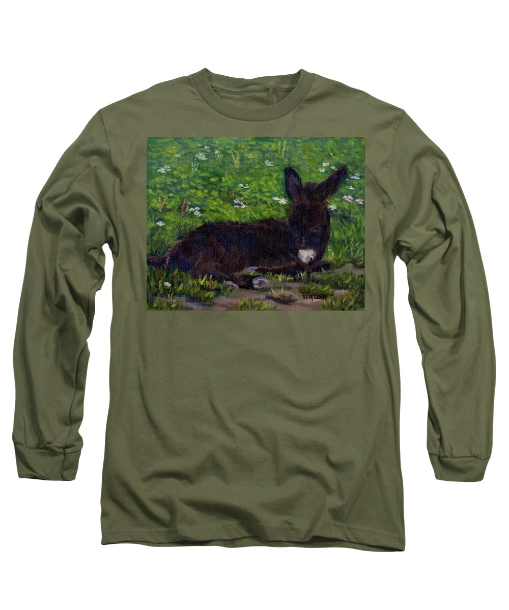 Donkey Long Sleeve T-Shirt featuring the painting Hercules by Sharon E Allen