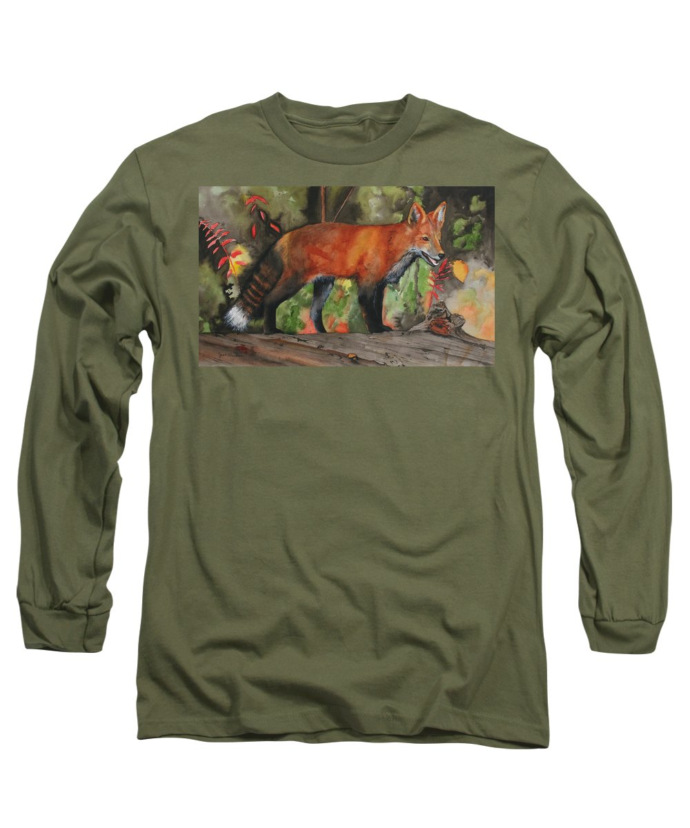 Fox Long Sleeve T-Shirt featuring the painting Hiding In Plain Sight by Jean Blackmer