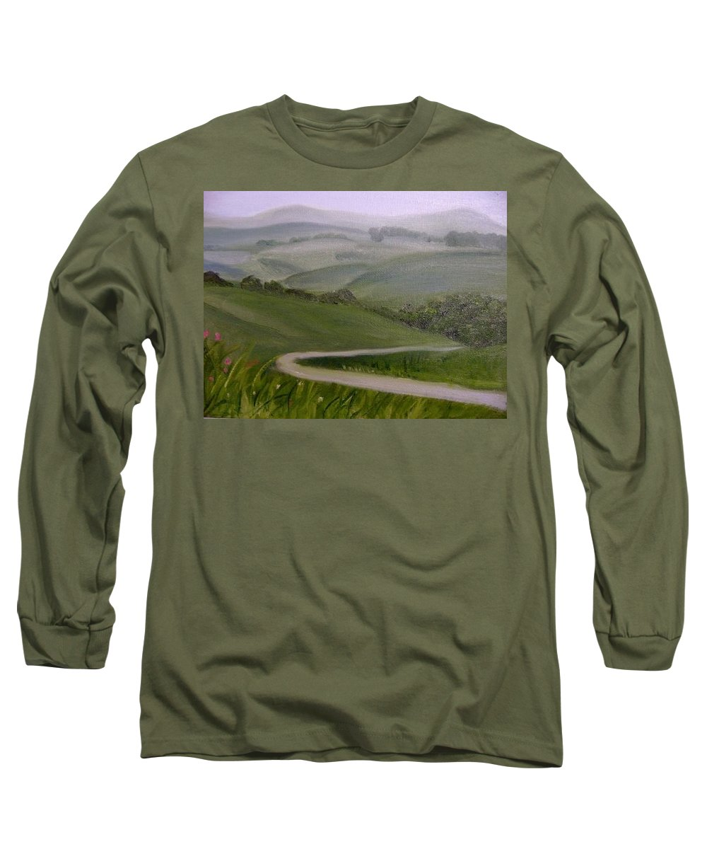 Pathway Long Sleeve T-Shirt featuring the painting Highway Into The Hills by Toni Berry