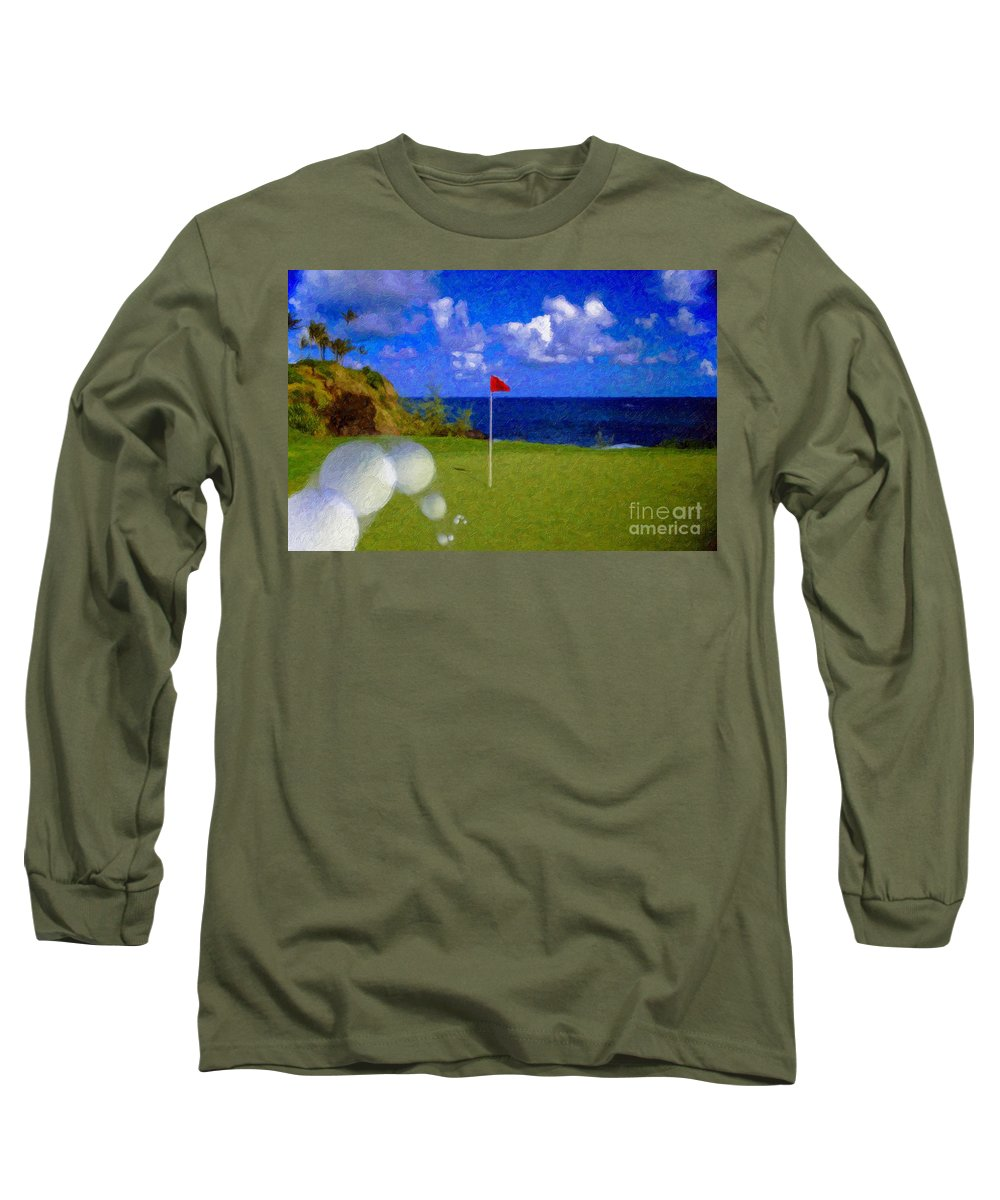 Hole In One 18th Green Ball Flag Green Ocean Palm Trees Long Sleeve T-Shirt featuring the photograph Fantastic 18th Green by David Zanzinger