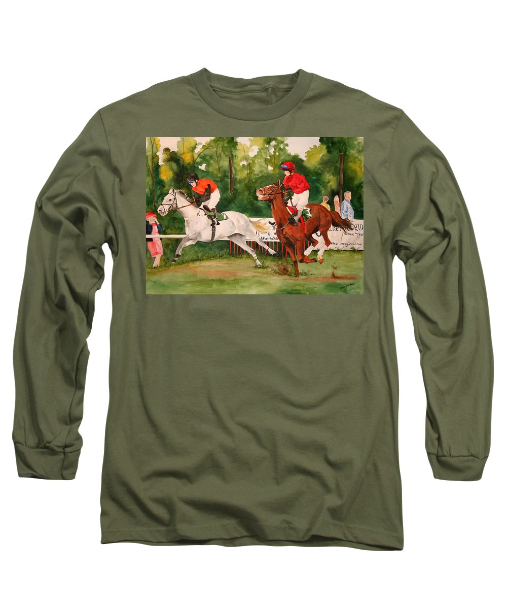 Racing Long Sleeve T-Shirt featuring the painting Homestretch by Jean Blackmer