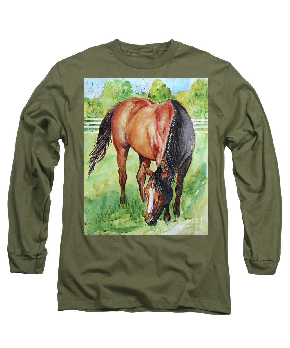 Horse Art Long Sleeve T-Shirt featuring the painting Horse Grazing by Maria Reichert