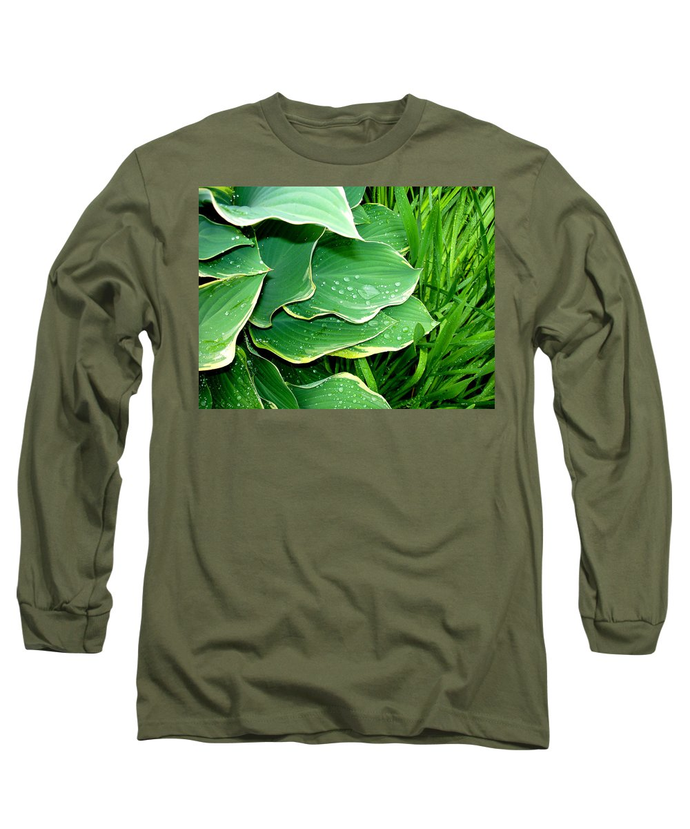 Hostas Long Sleeve T-Shirt featuring the photograph Hosta Leaves And Waterdrops by Nancy Mueller