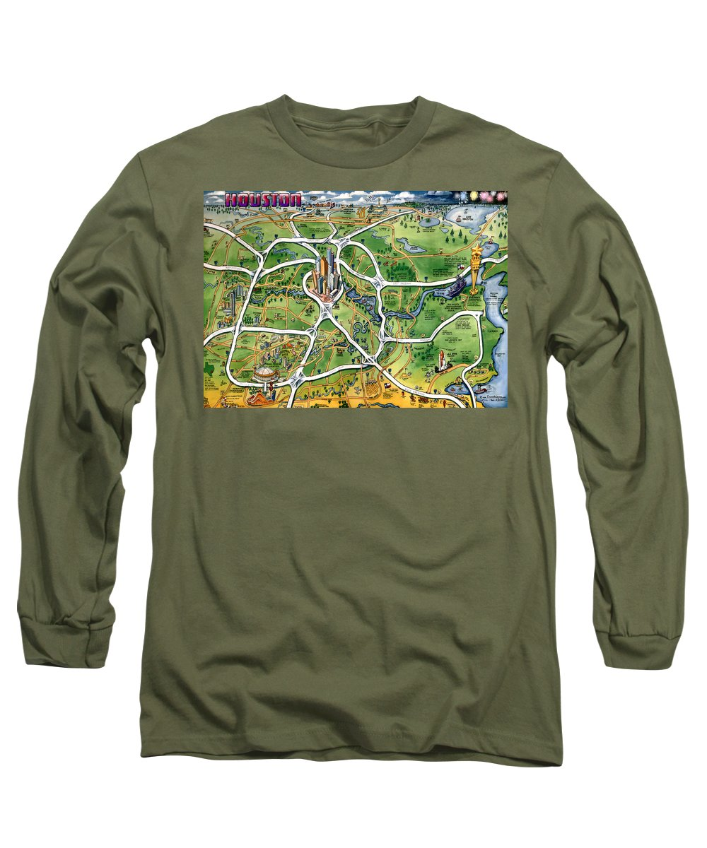 Houston Long Sleeve T-Shirt featuring the painting Houston Texas Cartoon Map by Kevin Middleton