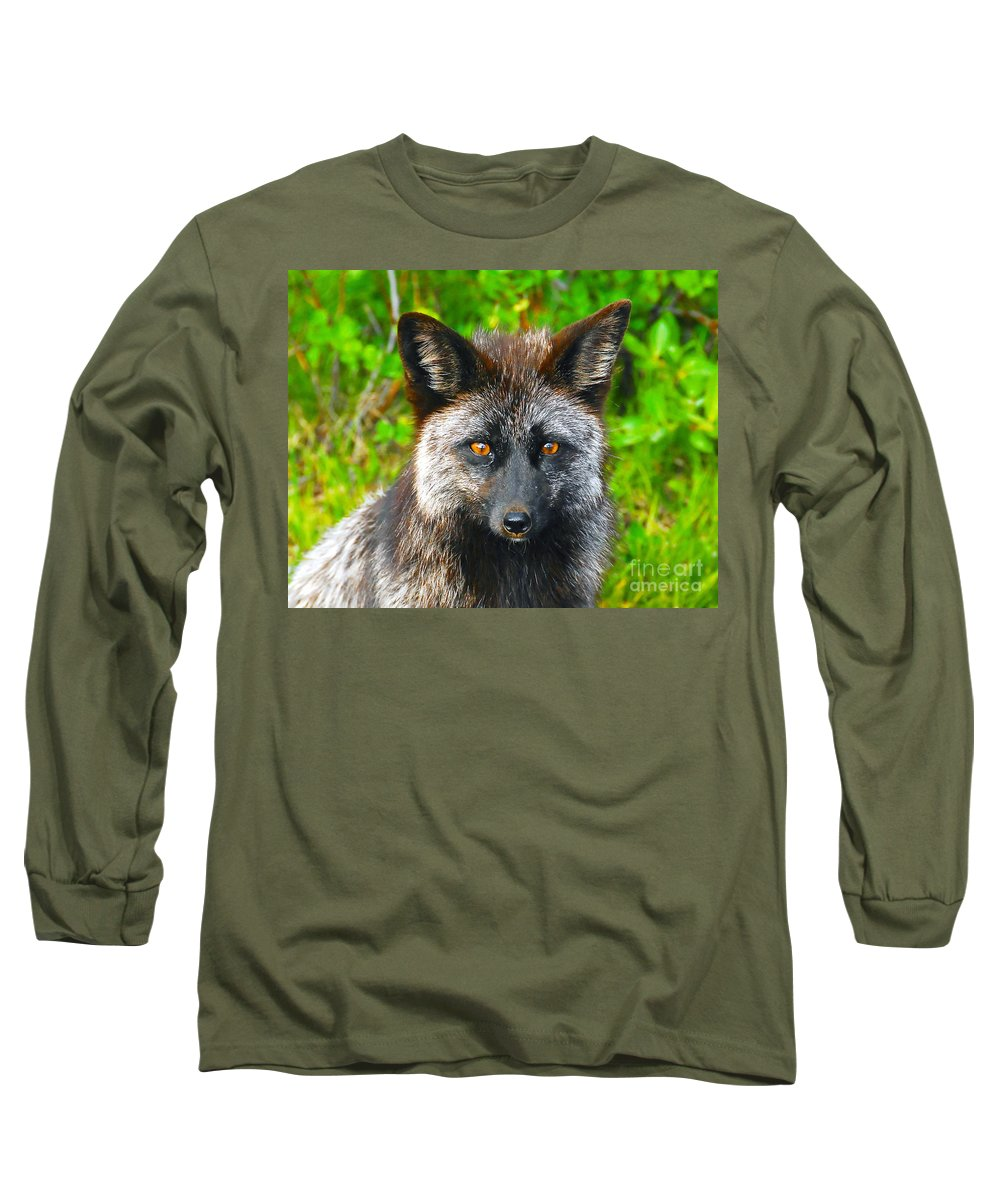 Gray Fox Long Sleeve T-Shirt featuring the photograph Hungry Eyes by David Lee Thompson