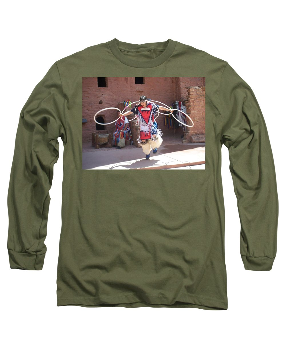 Indian Dancer Long Sleeve T-Shirt featuring the photograph Indian Hoop Dancer by Anita Burgermeister