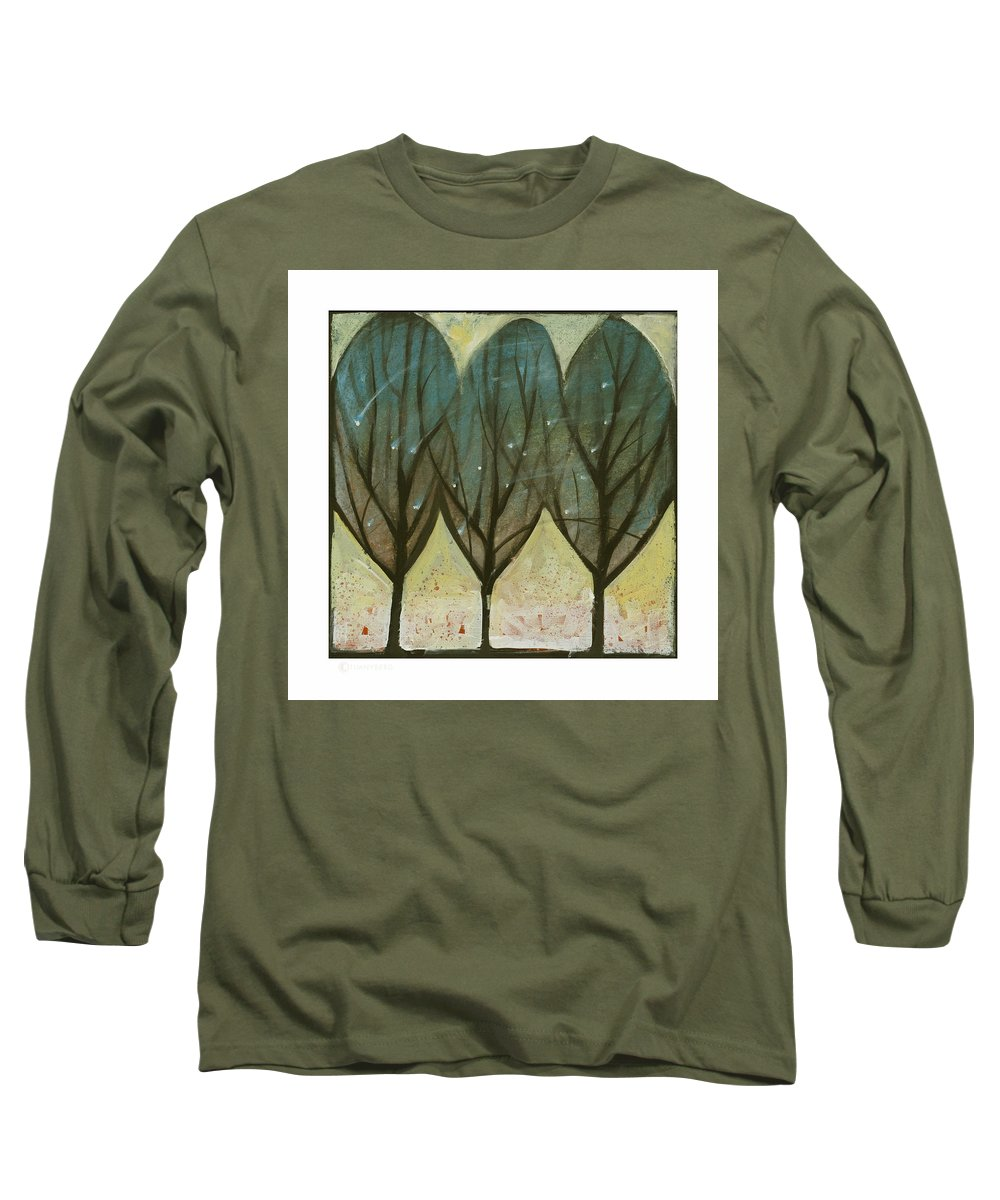 Trees Long Sleeve T-Shirt featuring the painting Indian Summer Snow by Tim Nyberg