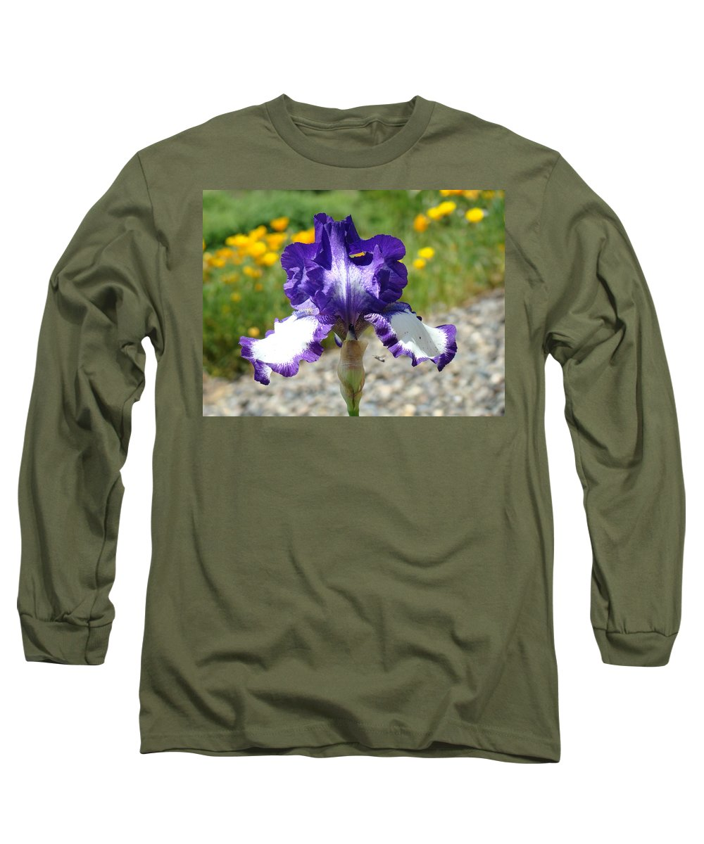 �irises Artwork� Long Sleeve T-Shirt featuring the photograph Iris Flower Purple White Irises Nature Landscape Giclee Art Prints Baslee Troutman by Baslee Troutman