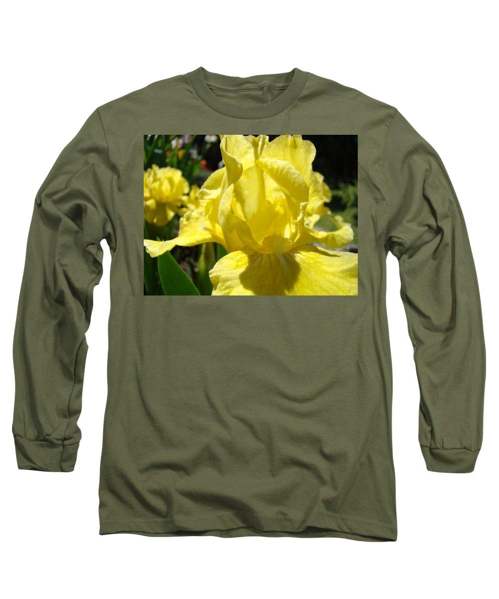 �irises Artwork� Long Sleeve T-Shirt featuring the photograph Irises Yellow Iris Flowers Floral Art Prints Botanical Garden Artwork Giclee by Baslee Troutman