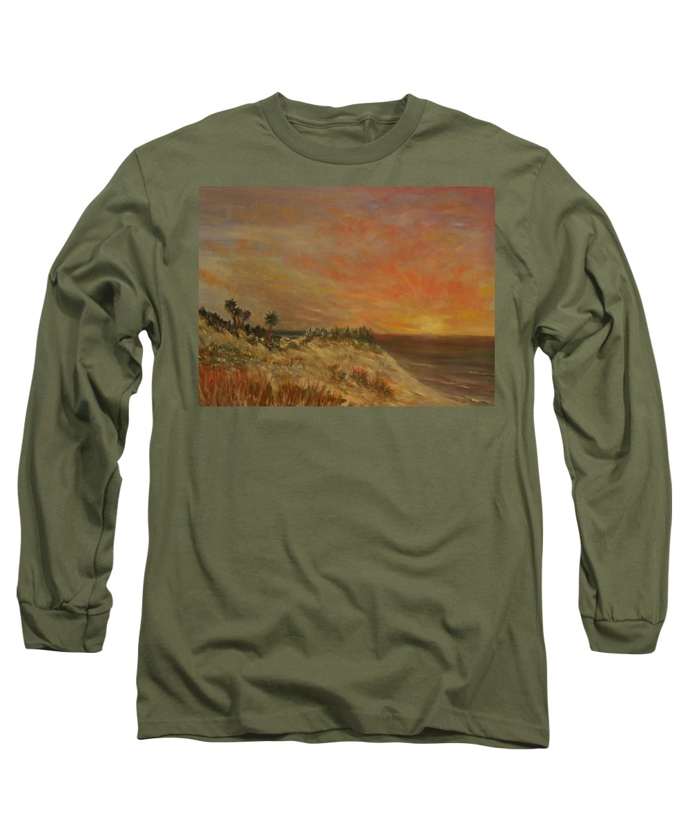 Sunset;beach;ocean;palm Trees Long Sleeve T-Shirt featuring the painting Island Sunset by Ben Kiger