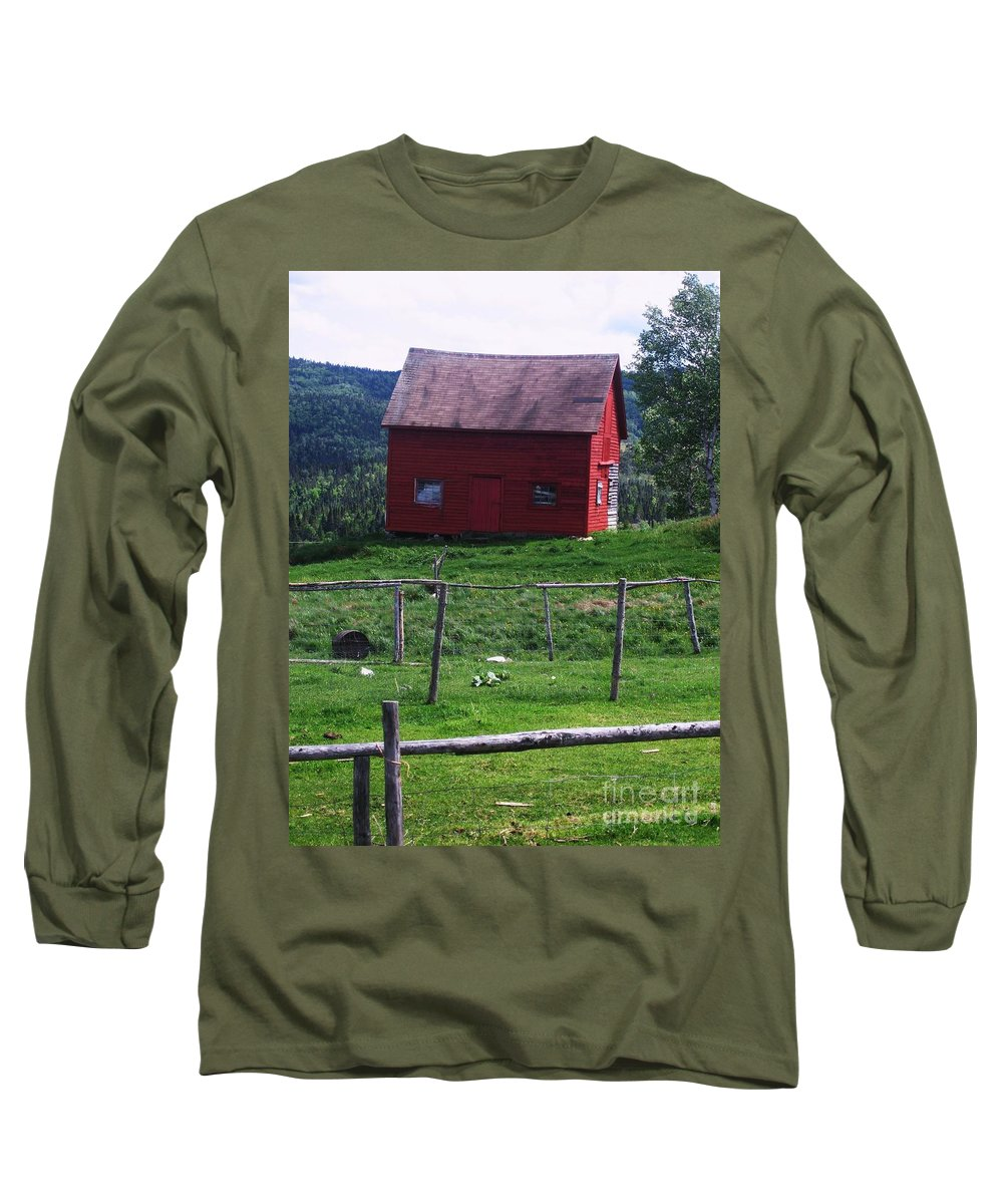 Photograph Newfoundland Jackson Cove Boat Grass Long Sleeve T-Shirt featuring the photograph Jackson's Cove by Seon-Jeong Kim