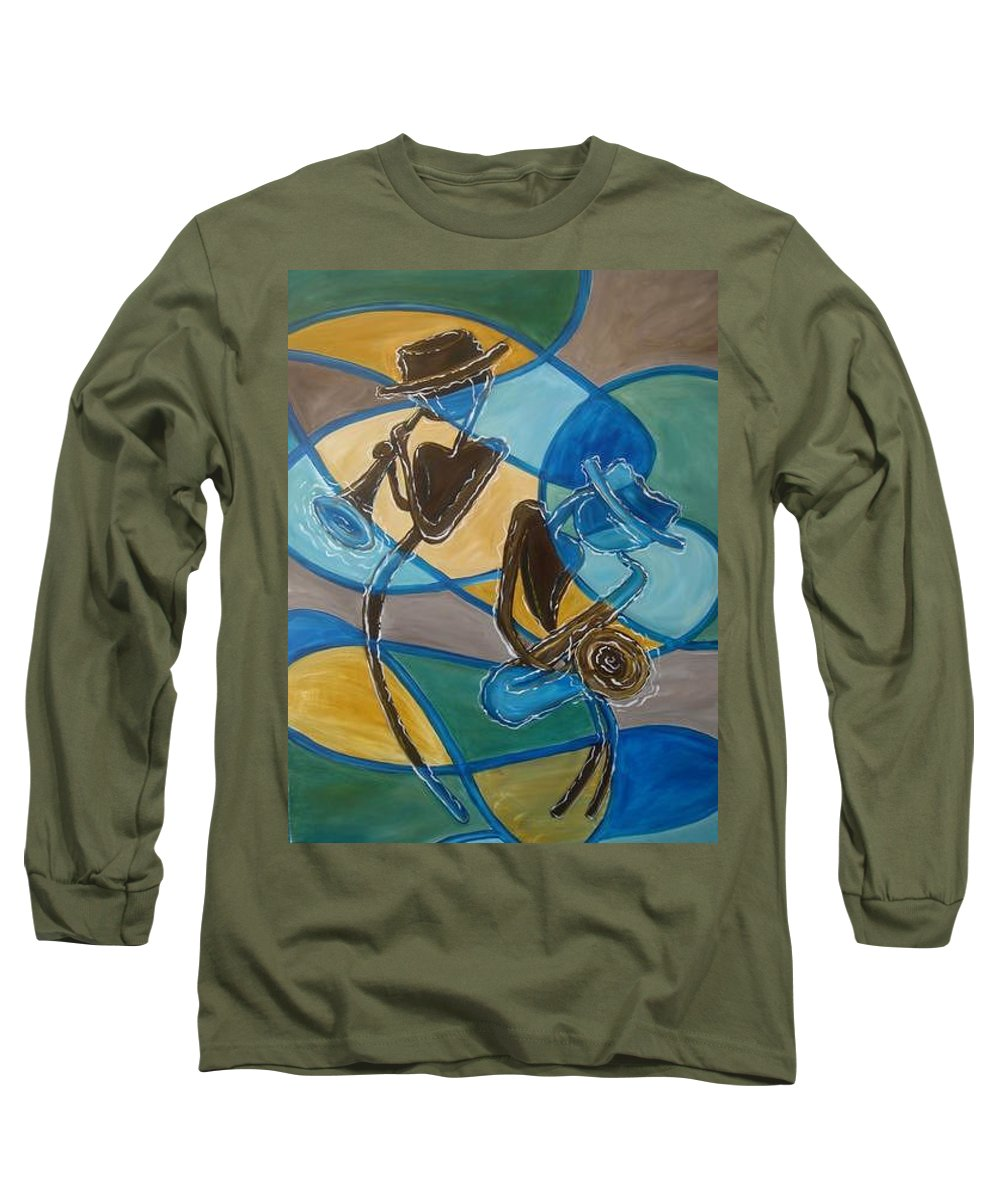 Jazz Long Sleeve T-Shirt featuring the painting Jazz Raz by Regina Walsh