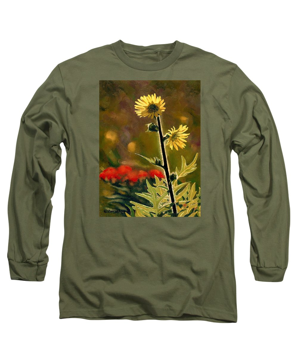 Prairie Flowers Long Sleeve T-Shirt featuring the painting July Afternoon-compass Plant by Bruce Morrison